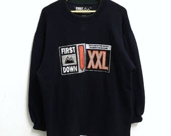 RARE!!! First Down Outdoor Big Logo Crew Neck Dark Blue Colour Sweatshirts Hip Hop Swag L Fit XL Size