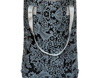 "Shopper - tote bag - boho bag - ""Eden"" black, from waterproof mexican oilcloth"