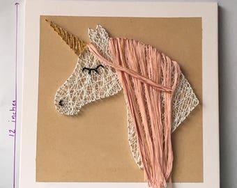 Fancy unicorn large • Large unicorn string art • unicorn decor • girls room • pastel rainbow unicorn • unicorn art