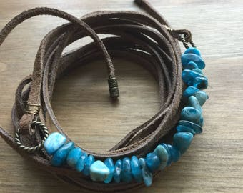Neon blue apatite and beiwn lace leather wrap choker