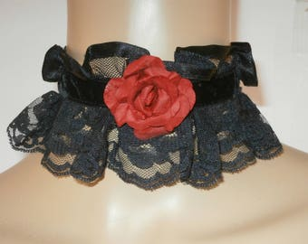 Black Velvet and Lace Choker with Red Paper Rose and Satin Ribbon   ibbon Tie Victorian Steampunk Costume