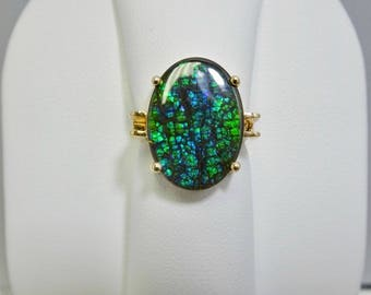 14K Yellow Gold 13 x 18mm Oval Ammolite Ring Size 4 3/4
