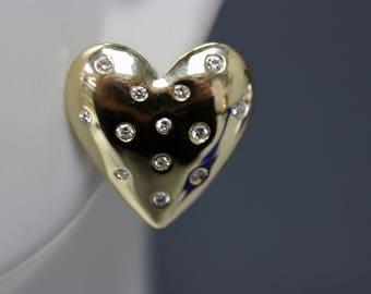 14k Yellow Gold and Diamond Heart Pierced Earrings