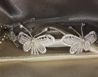 Butterfly Bridesmaid hair band, Bridesmaid hair accessories, Hairpiece, Bridesmaid Headband, Bridal, Wedding, flower girl accessories