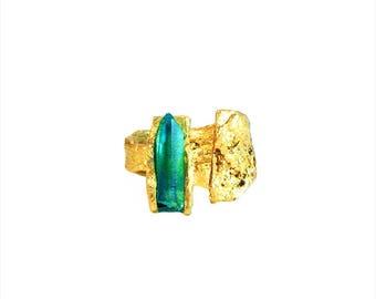 Artemis Greek Bronze Ring Handmade with Aqua Aura Crystal