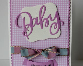 congratulations baby card, congratulations baby girl card, baby girl card, birth card, handmade card, baby shower, violet and purple