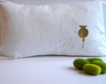 White cushion, dried poppy flower cover paint for fabric
