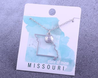 Customizable! State of Mine: Missouri Volleyball Silver Necklace - Great Volleyball Gift!