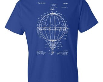 Hot Air Balloon T-Shirt Patent Art Gift, Balloonist T-shirt, Balloon Patent, Pilot Gift, Aviation Gift, Balloonist Gift, Patent T-shirt