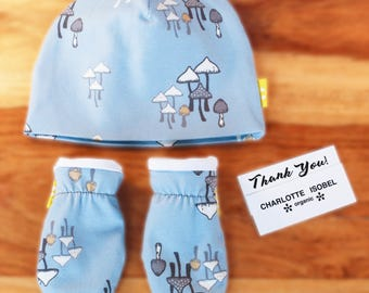 Blue Hat and Mitten Set with Fun Mushroom Print in Organic Cotton