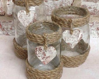 Set of 3 rustic electric candle jars