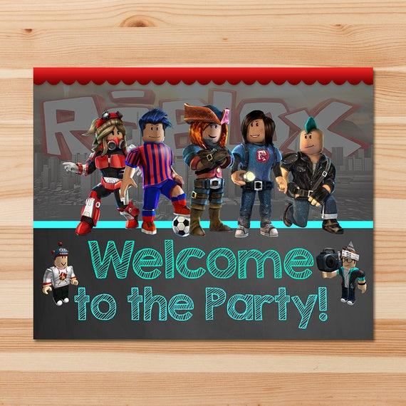 Roblox Welcome Sign - Chalkboard - Roblox Birthday Party Banner - Roblox Birthday Party - Roblox Party Favors - Roblox Printable Door Sign