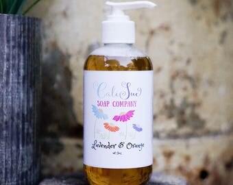 All Natural Handcrafted Liquid Hand Soap- Lavender & Orange liquid hand soap
