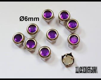 * ¤ Claw 10 PCs round rhinestone purple - Ø 6mm ¤ * #D49