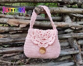 Crochet bag pattern, crochet purse pattern, crochet girl purse pattern, crochet purse pattern, girl purse pattern, toddler purse pattern