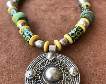 Vintage Silver Medallion with amazing African Trade Beads