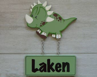 Kids room sign, Custom name signs, Boys name sign, Door sign, Baby name sign, Wooden name sign - Dinosaur