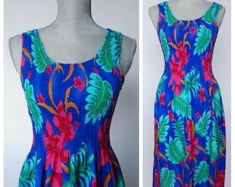 Vintage 90s Hawaiian Sun Dress | 1990s Floral Hawaiian Summer Dress | Tropical Sleeveless Beach Dress | Size Extra Small, Small to Medium