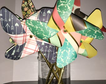 Colorful, Fun, Classy Gold Foil Pinwheels, Party Pinwheels, Paper Pinwheels, Pinwheel Cake Toppers, Pinwheel Photo Props, Centerpiece