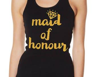 Hens Night Bachelorette Bridal Shower Iron-On Glitter Transfer - Maid of Honour