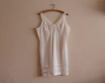 Vintage Undergarments Soviet Era Lingerie White Negligee Lace Trim Negligee Soviet Design Nightgow