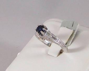 "Sapphire & Diamond ""Vintage"" Style Filigree Ring"