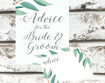 Eucalyptus Bohemian Floral Advice for Bride and Groom Sign | Boho Herbal Advice Mr Mrs Wedding Cards | Greenery Leaf  Printables | EUC1174