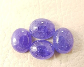 38% OFF Natural Tanzanite Oval Cab, Tanzanite Smooth Oval Shape Cabochon, 11-12 MM Size 4 Pieces, Loose Gemstone Beads AAA Grade Quality