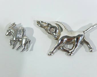 Vintage Mexican and Taxco Sterling Silver Donkey Brooches, Set of 2