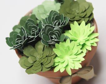 Paper Succulents, Paper Flowers, Green paper succulents, paper succulent pot, bridal succulents, rustic wedding,succulent art, succulents