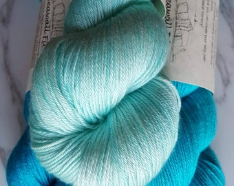 Sarson Shawl Kit- Hand Dyed Merino and Silk Fingering Weight Sock Yarn - Blues -