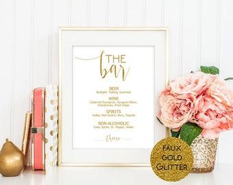 "SALE 11""x14"" Gold Glitter Bar Menu Sign, Drinks Menu Sign, Alcohol Sign, Bar Menu Printable, Editable sign template, Wedding Sign Printable"