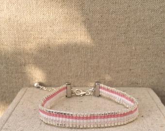 Soft bracelet Lou, pink and silver base