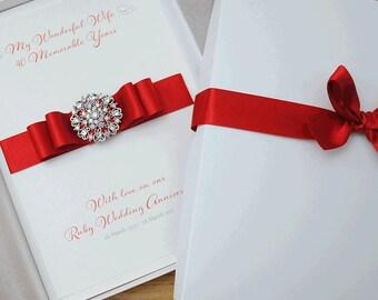 LARGE A5 Luxury Ruby Wedding Anniversary Card //  40th Wedding Anniversary Card // Gift Boxed Card // Handmade Anniversary Card
