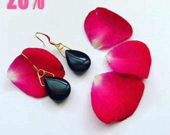 Black onyx and gold plated hook earrings