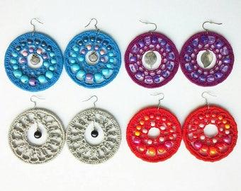 Big Beaded Crochet Hoop Earrings in 4 colors. Blue, Grey, Burgundy and Red