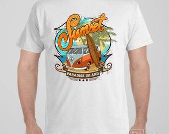 Funny T-shirt Sunset - Paradise Island - surfing - Vw - Combi