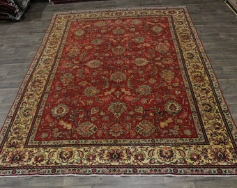 Nice Handmade Antique Washed Floral Tabriz Persian Area Rug Oriental Carpet 9X13