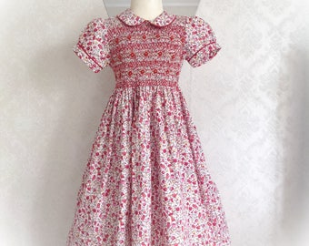 Flowered dress liberty short sleeve red and pink smocked dress