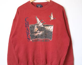 Vintage Chaps Ralph Lauren Big Logo Jumper Sweatshirt Polo Bear Polo Wing Polo Stadium Large Size