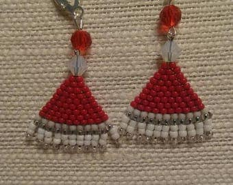 Beaded Santa Claus hat earrings