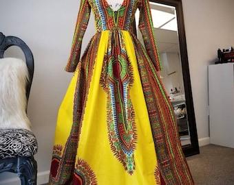 Elegant Ankara Full Length Dashiki Dress, African Print Maxi Dress