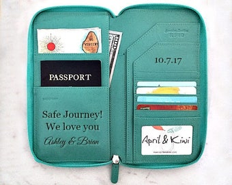 Travel wallet organizer, leather passport wallet, passport holder, travel wallet, personalized wallet passport cover, turquoise 7505