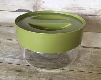 Vintage 1970s Store and See Glass Pyrex Storage Cannister with Avocado Green Plastic Screw Top Lid Made in USA
