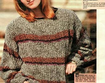 ladies and Mens Autumn Shades Jumper Knitting Pattern pdf, two patterns, one males, and one females