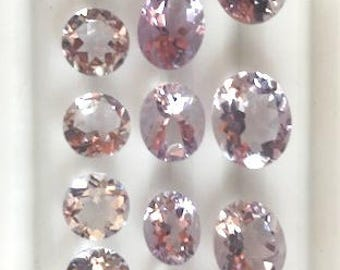 Natural Lavender Amethyst Quartz Oval and Round Faceted Gemstones. Collectible Items.