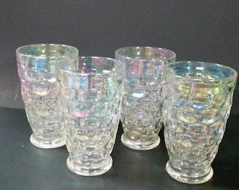 Vintage iridescent glass tumblers.  Set of 4