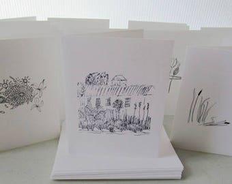 Set of 12 Notecards - art prints of original drawings, b/w