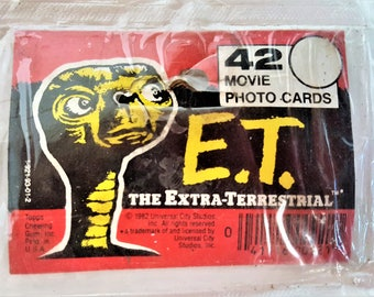 E.T. Movie Photo Cards 1982 Topps Chewing Gum Set of 42 Cards Numbers to 77 in Original Cellophane