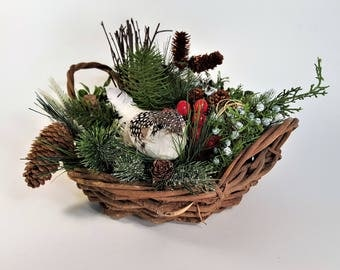 Woodland Basket Natural Woodland Collection Bird Pinecones Natural Faux Foliage Berries Gift Country Decor Free Shipping